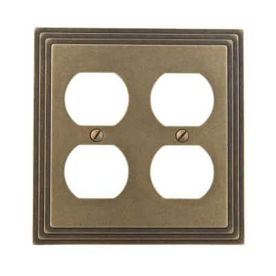 Tiered 2 Gang Duplex Metal Wall Plate - Rustic Brass