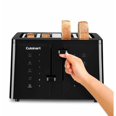 Touchscreen 4-Slice Black Wide Slot Toaster