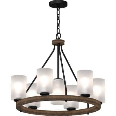 Emery 7-Light Walnut and Black Indoor Hanging Chandelier with Frosted Glass Cylinder Shades