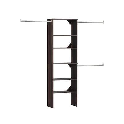 Style+ 84 in. W - 120 in. W Modern Walnut Wood Closet System