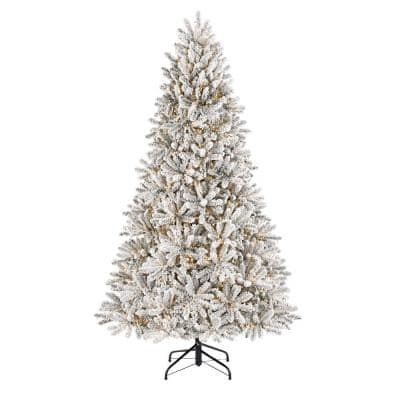 7.5 ft Starry Light Fraser Fir Flocked LED Pre-Lit Artificial Christmas Tree with 1500 Color Changing Lights