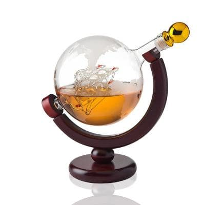 28.74 oz. Globe Crystal Decanter with Gold Accent