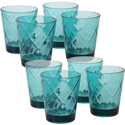 15 oz. 8-Piece Teal Old Fashion Glass