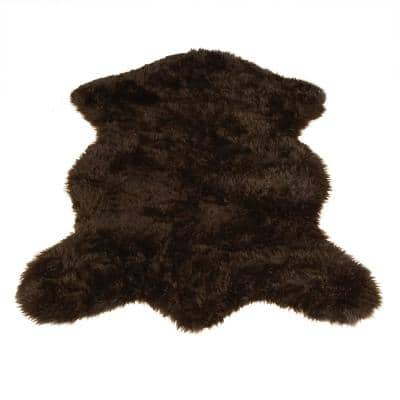 Brown 5 ft. x 7 ft. Made in France Faux Fur Luxuriously Soft and Eco Friendly Area Rug Bear Pelt