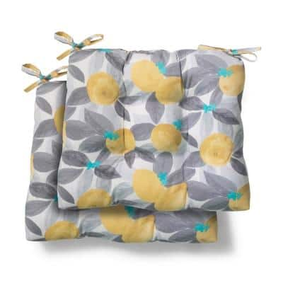 19 in. x 18 in. x 4.5 in. Stone Gray Lemons Tufted Outdoor Seat Cushion (2 Pack)