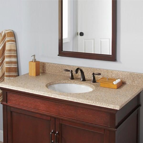 Cahaba 49 In W X 22 In D Granite Vanity Top In Beige With White Basin Cavt0129 The Home Depot