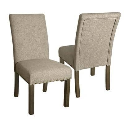 Michele Parsons Light Tan Upholstered Dining Chairs with Nailhead Trim (Set of 2)