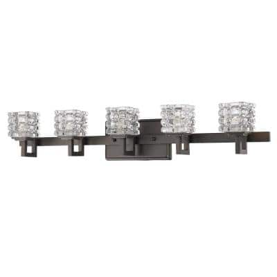 Coralie 5-Light Oil-Rubbed Bronze Vanity Light with Pressed Crystal Shades