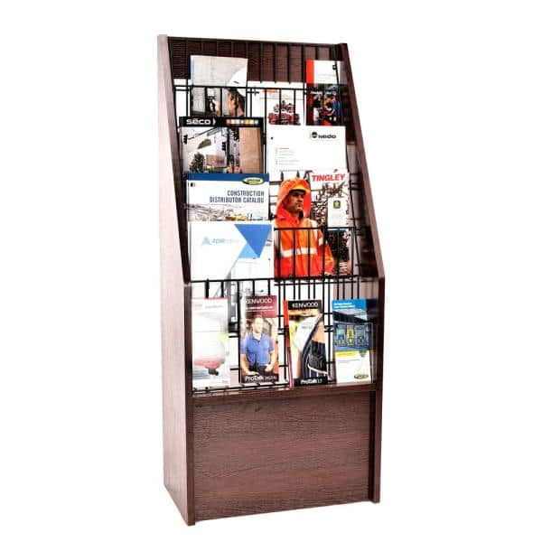 Adiroffice Wooden Free Standing 6 Tier Display Literature Brochure Magazine Rack Mahogany 640 4020 Ma The Home Depot