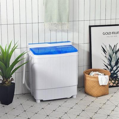 4.8 cu. ft. Portable 18 lbs. Compact Mini Twin Tub Washing Machine Drain Pump Spinner in Blue