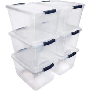Cleverstore 30 Qt. Plastic Storage Tote Container with Lid (6-Pack)