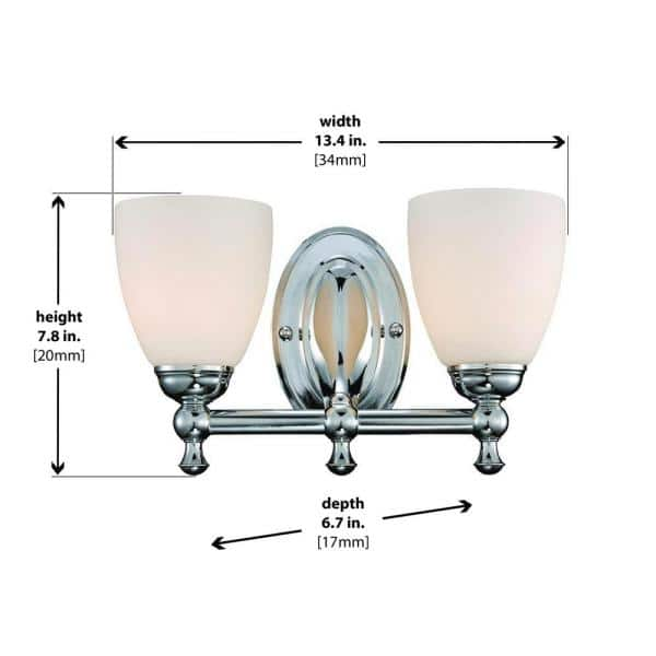 Hampton Bay Solomone 2 Light Polished Chrome Vanity Light With Opal Glass Shades Cp2563 The Home Depot