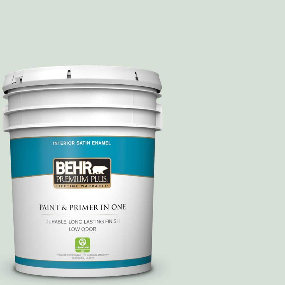 Behr Premium Plus 5 Gal S410 1 River Mist Satin Enamel Low Odor Interior Paint And Primer In One 705005 The Home Depot