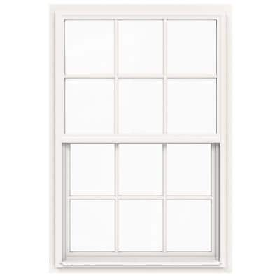36 in. x 54 in. V-4500 Series White Single-Hung Vinyl Window with 6-Lite Colonial Grids/Grilles