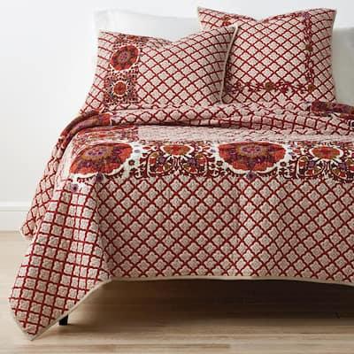 Thornwood Geometric Cotton Blend Embroidered Sham