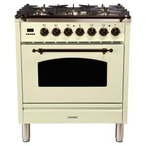 30 in. 3.0 cu. ft. Single Oven Italian Gas Range with True Convection, 5 Burners, LP Gas, Bronze Trim in Antique White