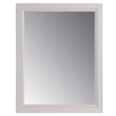 Valencia 22 in. W x 27 in. H Single Framed Wall Mirror in Cream