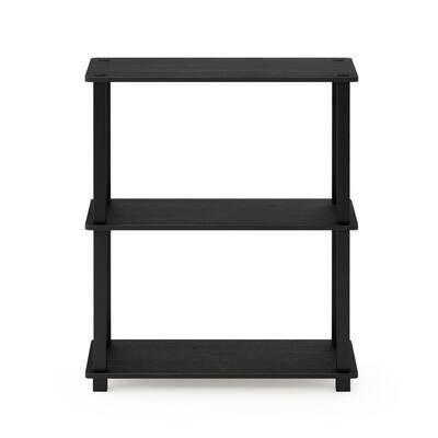 29.5 in. Americano/Black 3-shelf Etagere Bookcase with Open Back