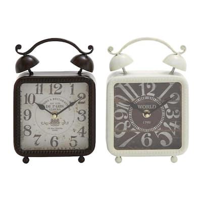 9 in. x 6 in. Square Iron Desk Clock (2-Pack)