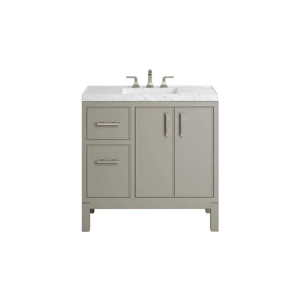 Kohler Rubicon 36 In Bath Vanity Single Basin Vanity Top In Mohair Grey With White Basin K R81107 Asb 1wt The Home Depot