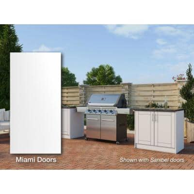 Miami Shell White 16 piece 73.25 in. x 34.5 in. x 25.5 in. Outdoor Kitchen Cabinet Island Set