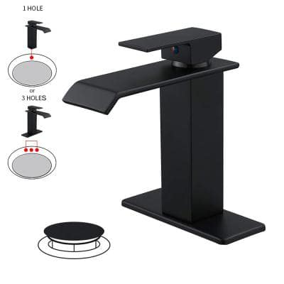 Waterfall Single Hole Single-Handle Low-Arc Bathroom Faucet With Pop-up Drain Assembly in Matte Black