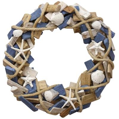 Seascape Cream, Blue, Natural Wood, Sea Shell Wall Art