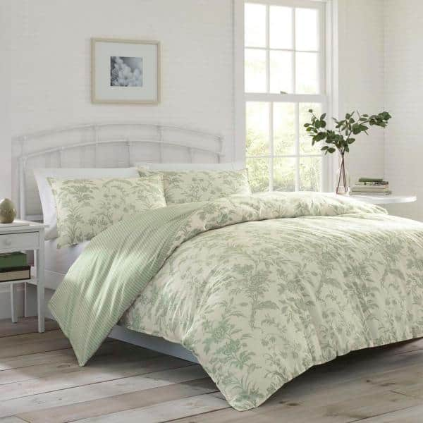 Laura Ashley Natalie 2 Piece Green Floral Cotton Twin Duvet Cover Set Ushsfn1065080 The Home Depot