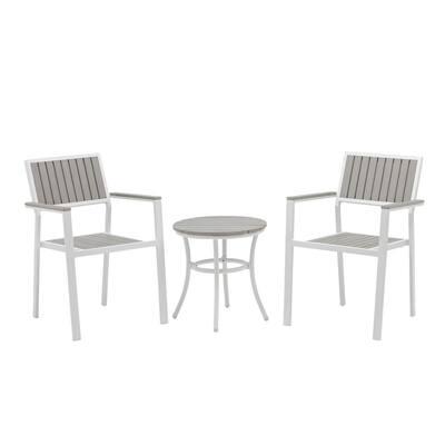 White 3-Piece Metal Frame Slate Grey Tek-Wood Resin Slats Patio Conversation Set
