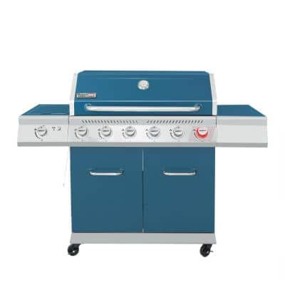 6-Burner Propane Gas Grill in Blue with Sear Burner and Side Burner