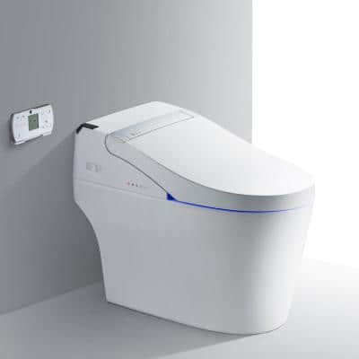 Athena Intelligent Comfort Height 1-Piece 1.0 GPF /1.6 GPF Dual Flush Elongated Toilet in White Seat Included
