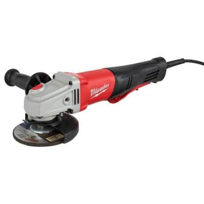 11 Amp Corded 4-1/2 in. or 5 in. Braking Small Angle Grinder Paddle with No-Lock