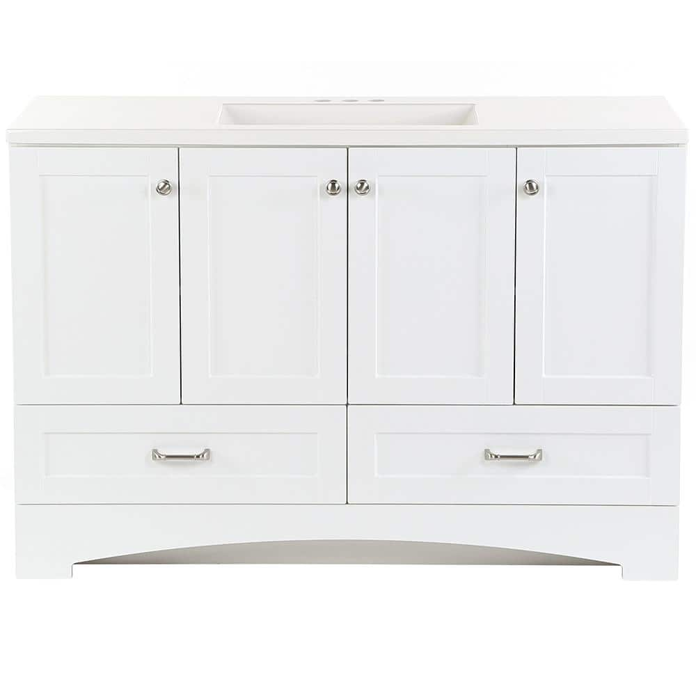 Glacier Bay Lancaster 48 In W X 19 In D Bathroom Vanity In White With Cultured Marble Vanity Top In White With White Sink Lc48p2 Wh The Home Depot