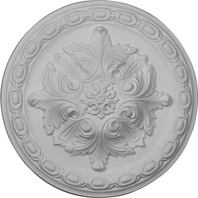 "11-3/8"" x 2"" Acanthus Urethane Ceiling Medallion, Primed White"