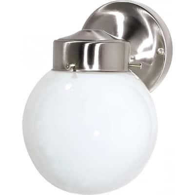 Tony 1-Light Brushed Nickel Outdoor Wall Lantern Sconce