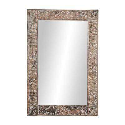 Large Rectangle Whitewashed Brown Contemporary Mirror (47.5 in. H x 31.5 in. W)