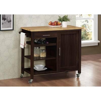 Temecula Espresso Brown Kitchen Cart
