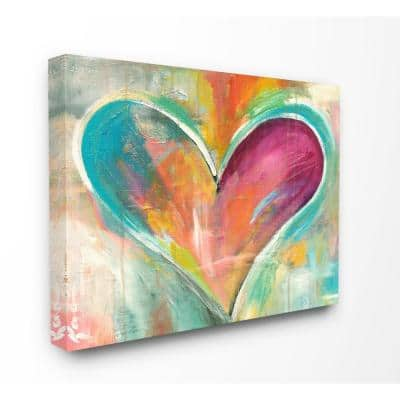 """24 in. x 30 in.""""Abstract Colorful Textural Heart Painting"""" by Artist Kami Lerner Canvas Wall Art"""