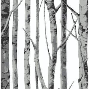 Birch Trees Monochrome Botanical Vinyl Peel & Stick Wallpaper Roll (Covers 30.75 Sq. Ft.)