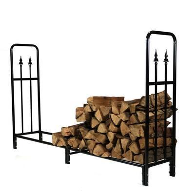 6 ft. Steel Firewood Storage Log Rack in Black