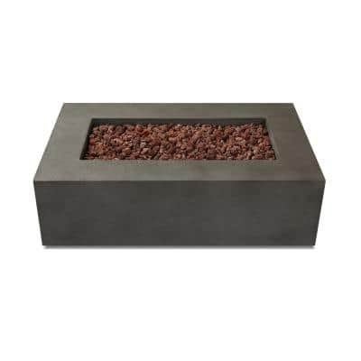 Baltic 50 in. L x 32 in. W Rectangle Concrete Natural Gas Fire Table in Grey with Burner Lid and Protective Cover