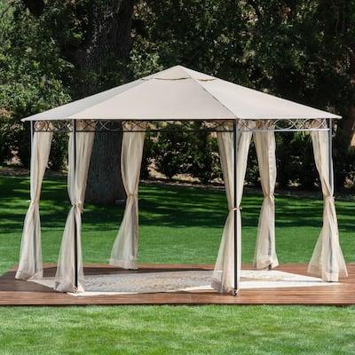 Duke 12.4 ft. x 12.4 ft. Beige Canopy Gazebo
