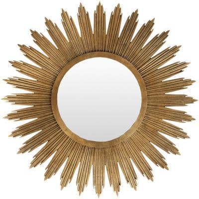 Large Round Gold Contemporary Mirror (47 in. H x 47 in. W)