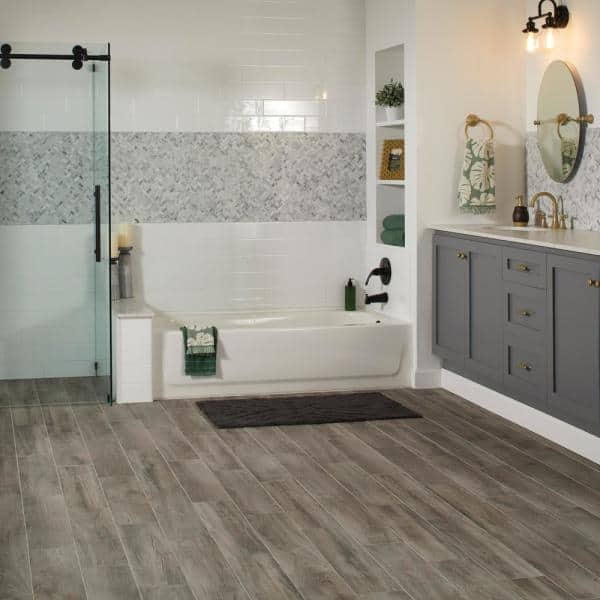 Lifeproof Shadow Wood 6 In X 24, Home Depot Bathroom Floor Tiles