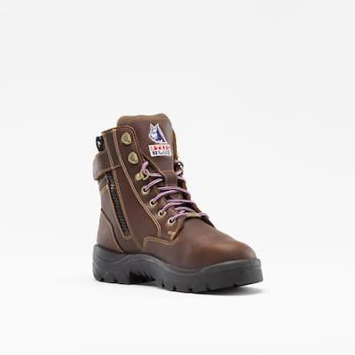 Women's Southern Cross Metatarsal Zip 6 inch Lace Up Work Boots - Steel Toe - Oak Size 5(W)