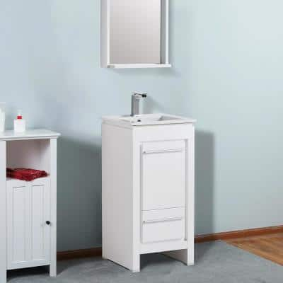 37.4 in. Depth x 18.5 in. Width x 18.1 in. Height Bath Vanity in White with Porcelain White Top and Sink