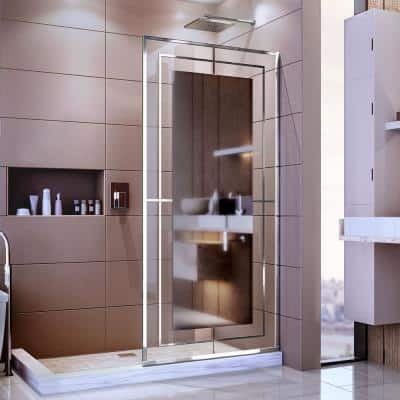 Platinum Linea Mira 34 in. W x 72 in. H Frameless Fixed Shower Screen in Polished Stainless Steel without Handle