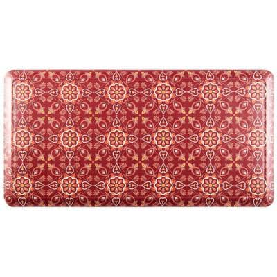 Red Tile 39 in. x 20 in. Anti-Fatigue Kitchen Mat