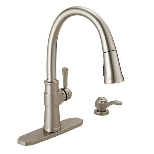 Delta Spargo Single-Handle Pull-Down Sprayer Kitchen Faucet with Shield Spray and Soap Dispenser in Spot Shield Stainless
