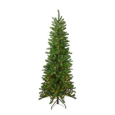 6.5 ft. Pre-Lit Canadian Pine Artificial Pencil Christmas Tree with Multi-Lights